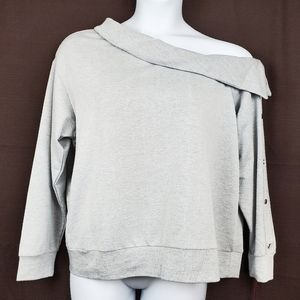 JENNIFER LOPEZ Grey Off The Shoulder Sweatshirt
